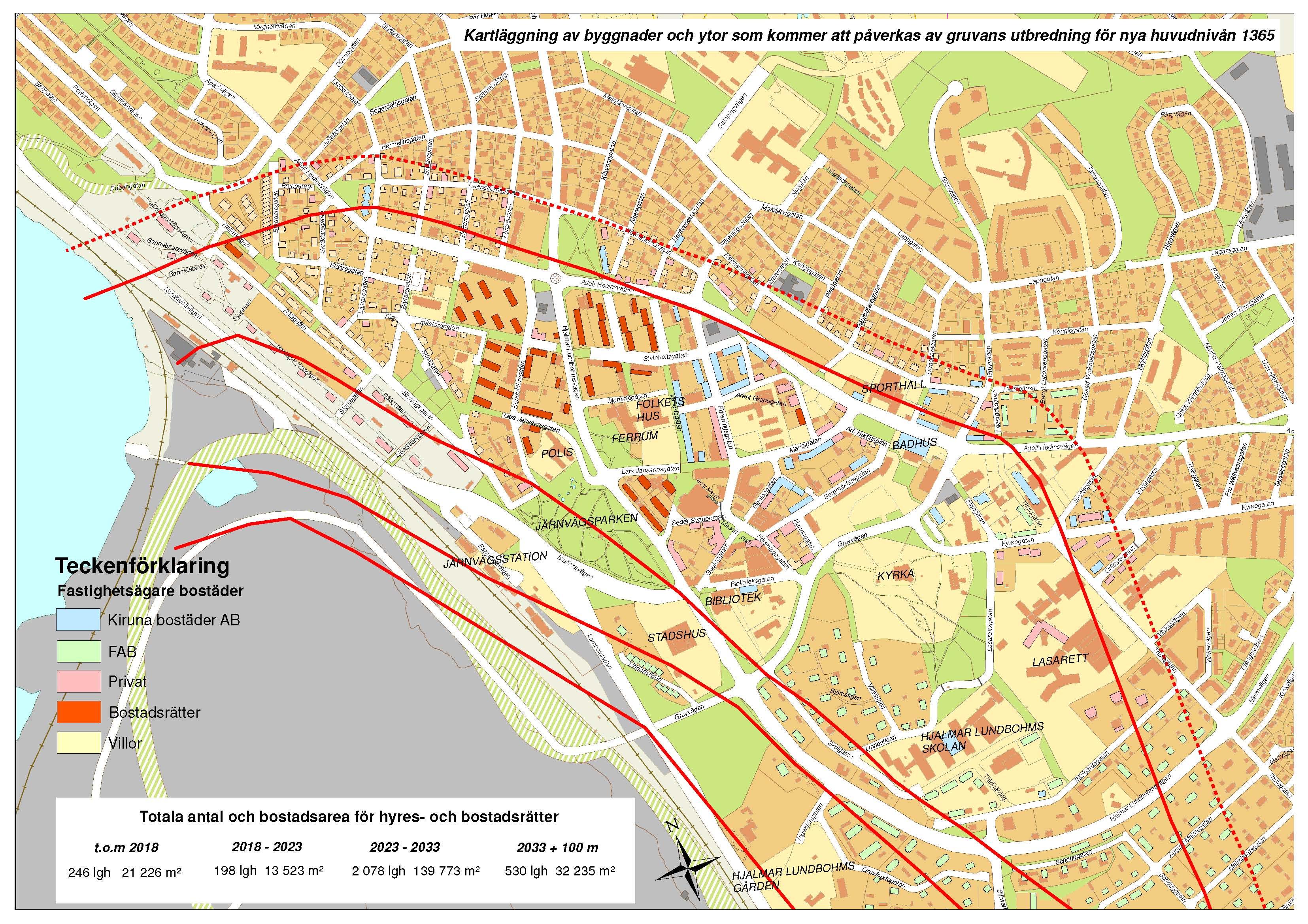 Afectación de Kiruna en diferentes períodos de tiempo