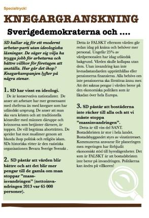 Ladda ned Knegarkampanjens flygblad som granskar Sverigedemokraternas politik